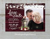 Rustic Winter Photo Save The Date Card,Fairy Lights,Lantern,Burgundy,Blush, Roses,Barn Wood,Personalize,Printed Cards,Envelopes