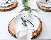 14 inch TREATED wood chargers! Rustic plate chargers, wood slice plate chargers, tree slices, wood rounds, preserved wood slices!