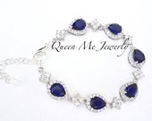 Sapphire blue bracelet Gift for her a Bride, Mother of the Bride Wife Something Blue Halo Cz teardrop Wedding Bridal Jewelry TIA