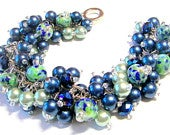 Blue and Green Lampwork and Pearl Cluster Bracelet, Bridal Party Bracelet, Mother of the Bride/Groom, Bridesmaids Maid of Honor Gift