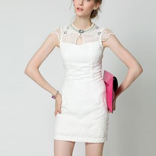 Short-Sleeve Sheath Party Dress