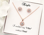 Jacque Rose Gold Wedding Jewelry Set, Halo Bridal Earrings Necklace Bracelet, Bridesmaid Gift Set, Mother of The Groom Gift Set