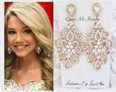 Gold crystal chandelier earrings For a bride Bridesmaids Mother of Bride Sterling posts Wedding Bridal Pageant Prom Boho chic Jewelry MEG