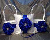 2 Flower Girl Baskets and matching Ring Bearer Pillow in White with Royal Blue Satin Flower and Rhinestone Mesh handle and Trim
