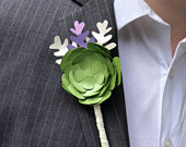 Paper Flower Wedding Boutonniere / Special Event Boutonniere / Paper Flowers