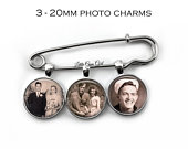 Custom Photo Lapel Pin with 2 or 3 Picture Charms Wedding Picture Boutonniere Personalized Bridal Bouquet Charm Groom Memorial Pin