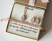 Bridal party jewelry, Bridesmaid gift, Bridal bracelet earrings necklace set, Bridesmaid earrings, Rose gold zirconia jewelry, Wedding gift