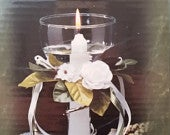 90s Vintage Floating Taper Candle / Taper Candle / White Candle / Flowers / Floral / Wedding Decor / Wedding Candle / Floating Candles / CIJ