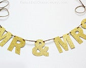 Mr Mrs Gold Glitter Paper Banner Garland Wedding, Birthday, Bridal Shower, Party Decorations, Photo Booth Backdrop, Engagement Photo Prop