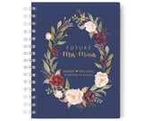 Navy Personalized Wedding Planner Book, Gold Wedding Planner, Wedding Planning Notebook, 5.5 x 8.5 inches, Design 011