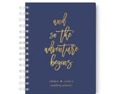 And so the Adventure Begins Wedding Planner, Navy and Gold Wedding Planning Book, Design 021