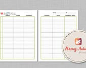Printable 8 Subject / Assignment / Weekly Lesson Plan Planner Letter Size Watercolor Rose