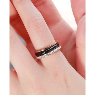 Rhinestone Trim Stainless Steel Ring