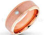Mens Aquamarine Solitaire Wedding Band, March Birthstone, 8mm Rose Gold Plated Beveled Edge Comfort Fit Tungsten Carbide Ring TS3732