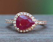 Ruby Engagement Ring Make an Offer Pear Cut Ruby Ring with Diamond Halo and Rose Gold Filigree Basket Ready to Ship LS4230