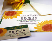 Sunflower Save the Date Card, Sunflowers Wedding Save the Date Postcard, Yellow Flower Wedding Invitation Suite, Flower Save the Date Magnet