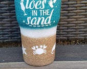 Drink In My Hand Toes in the Sand Beach Stainless Steel Glitter Tumbler Custom Tumbler Name or Monogram