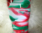 Red, White, and Green swirled Stainless Steel Tumbler, Personalized tumbler, Customized tumbler, Travel mug lid, colorful tumber, bright