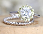 Moissanite And Yellow Sapphire Ring Round Cut Set CC Forever Classic Moissanite Engagement Ring Set Solid 14K White Gold Wedding Ring Set