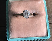 Antique Sterling Silver Oval Faceted Diamond Simulant Vintage Engagement Ring