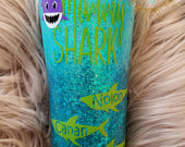 Personalized Mommy Shark w/baby sharks Glittered Stainless Steel Tumbler Ozark/RTIC/Yeti Mothers Day Gift Baby Shark Daddy Shark
