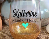 Maid of Honor Wine Glass Stemless Wine Glass Glitter Wine Glass Maid of Honor Proposal Bridal Party Gift Bridesmaid Gift Personalized