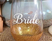 Bride, Bridal Gift, Wine Glass, Stemless Wine Glass, Mimosas, Glitter Wine Glass, Bachelorette Weekend, Bridal Shower, Gift, Personalized