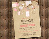 Rustic Bridal Shower Invitation Pink with Mason Jars and Flowers, Digital File, Printable 1182