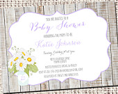 Rustic Baby Shower Invitation Daisy Flowers in Mason Jars 1169