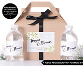 Hotel Wedding Box Wedding Welcome Boxes with Matching Water Labels Wedding Survival Kit Wedding Favor Boxes Guest Gifts wdiG259