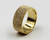 8mm Gold Plated Silver Flat Comfort Fit Wedding Ring with Stone Finish, wedding band