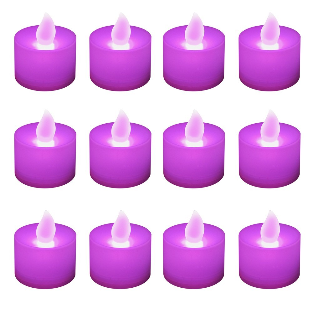 12ct Battery Operated Led Tea Lights Purple