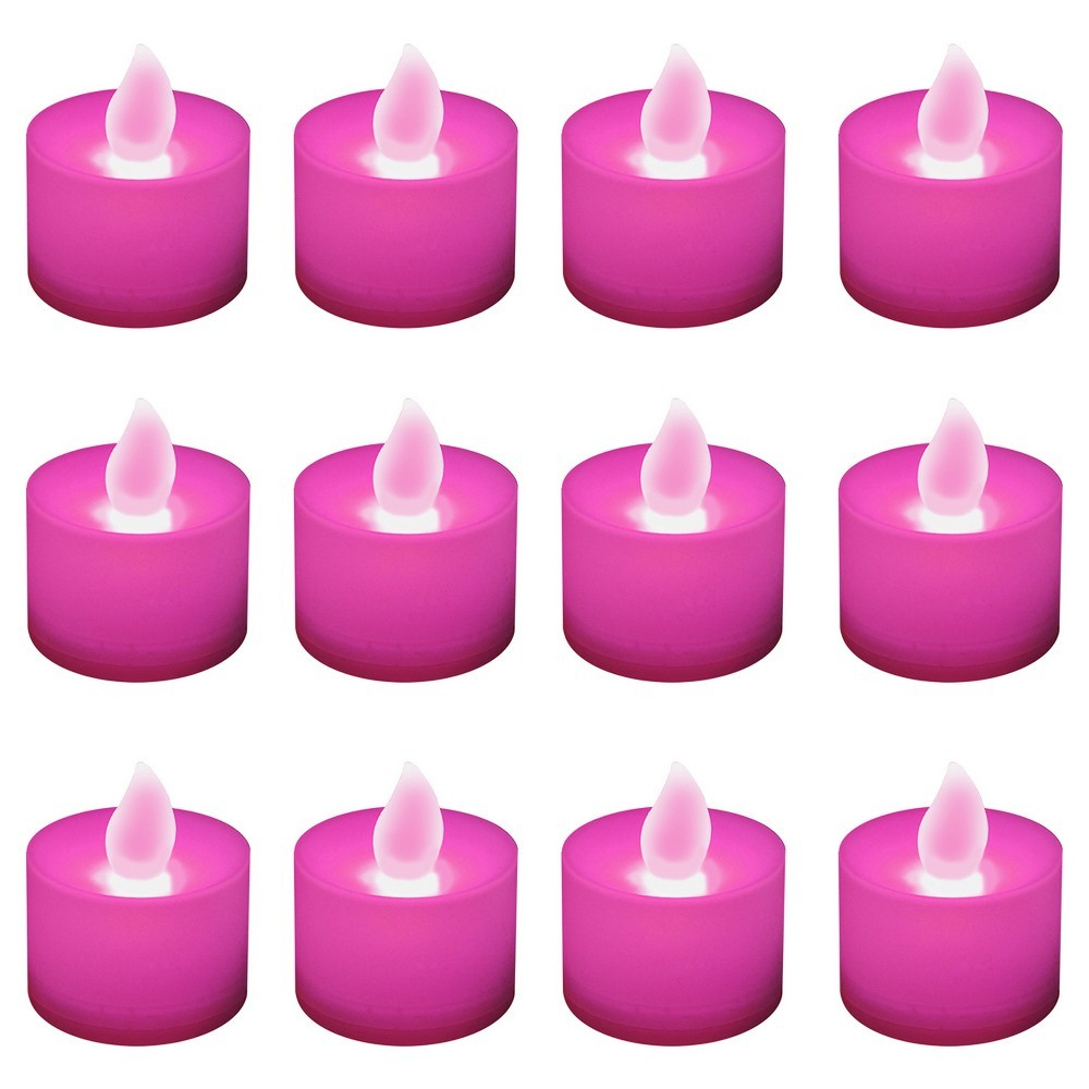 12ct Battery Operated Led Tea Lights Pink