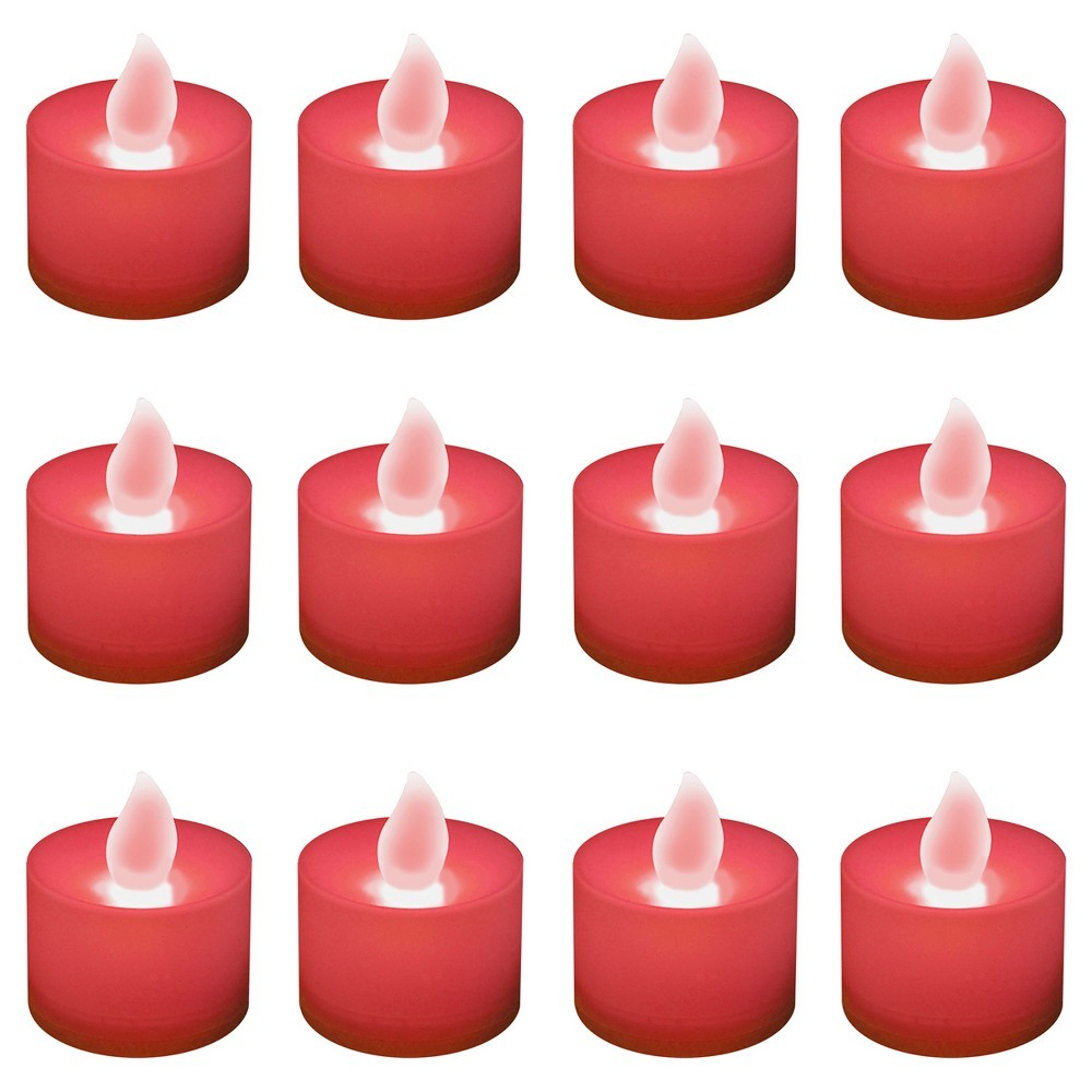 12ct Battery Operated Led Tea Lights Red