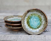GEODE RING DISH: Fused Glass Dish, Fused Glass Pottery, Geode Pottery, Trinket Dish, Soap Dish, Candle Holder, Stoneware, Crackle Glass Dish