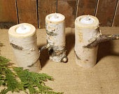 6 wedding Birch candle holder, 1 qty, wooden candle, woodland themed log candle holder for lake house decor and farm house decorations