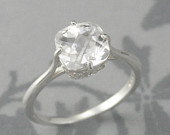 Antique Cushion Cut Flourish Engagement RingSterling Silver Faux DiamondCheckerboard cut Cubic ZirconiaCustom SizedSimple Silver Band