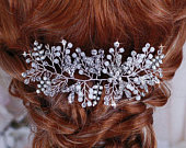 ROSE GOLD or SIlver Bridal Party Opal Hair Comb Head Piece Brides Floral Wedding Crystal Headpiece Wreath Accessory Weddings Jewelry Gift