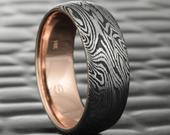 Domed Titanium Black Zirconium Mokume Wedding Band with 14K Rose Gold Liner. Rich, Rugged and Masculine Ring DARK BURL