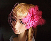 Flower Fascinator PinkPink Flower Birdcage Veil With Crystals,Feathers