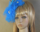 Tulle Flower Bridal FascinatorBlue Tulle Flower Fascinator With Pearls and Feathers