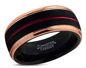 Black Tungsten Ring, Rose Gold Wedding Band 8mm 18K, Red Wedding Ring, Engagement Ring, Promise Ring, Gifts for Him, Black Ring, Gold Ring