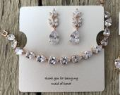 Mother of the bride or mother of the groom, Bridesmaid jewelry in rose gold, silver or Gold bracelet and earrings set for your bridesmaids