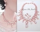 Bridal jewelry set Gift for her a Brides Teardrop Statement Bib Necklace Earrings Brides Mother of Classic Wedding Jewelry Set QUEEN LILLY