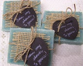 From my shower to yours, 50 Chalkboard style hearts, handmade soaps, Deep Blue Sea aqua color, bridal shower, wedding favors