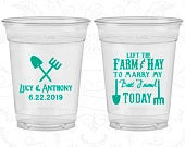 Left the Farm and Hay, To Marry my Best Friend Today, Wedding Favor Clear Cups, Farm Wedding, Barn Wedding, Clear Plastic Cups (349)