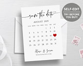 Printable Save The Date Calendar Template, Save The Date Template, TRY BEFORE You BUY, Save The Date Cards, 100% Editable, Instant Download