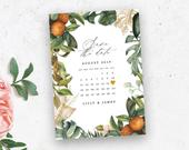 Bohemian Printable Save The Date Calendar Template, Greenery, Roses, Save The Date Cards, 100% Editable, Instant Download, 028