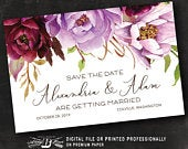 Rustic Save the Date Postcard Printed or Digital File Purple Save the Date Postcard Floral Save the Date Postcard Mulberry Lilac