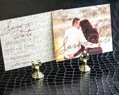 Shabby Chic Wedding, Country Wedding Save the Date, Rustic Wedding, Red and Gold Graceful Botanic Save the Date Photo Postcard DEPOSIT